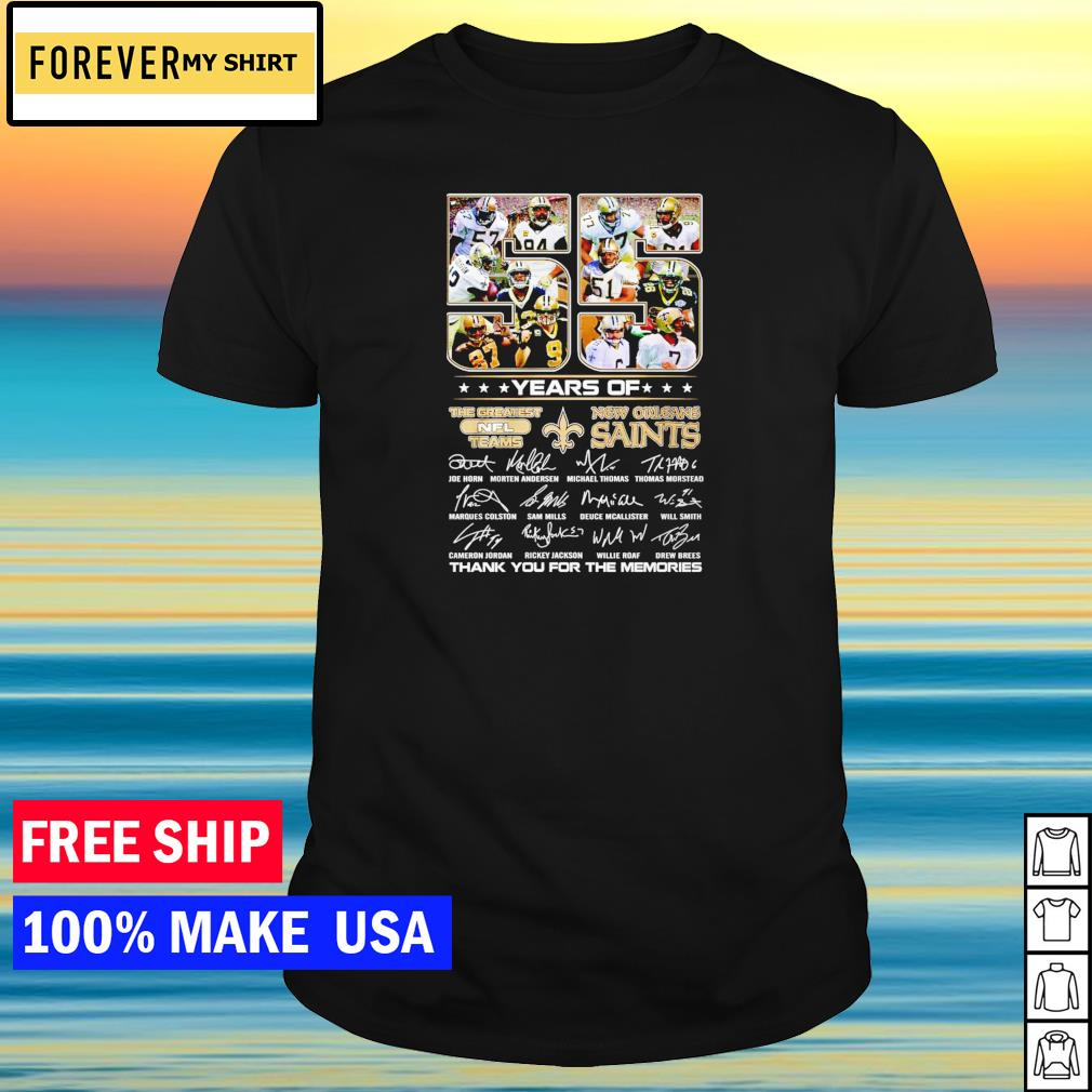 55 years of the greatest NFL teams New Orleans Saints thank you for the memories shirt