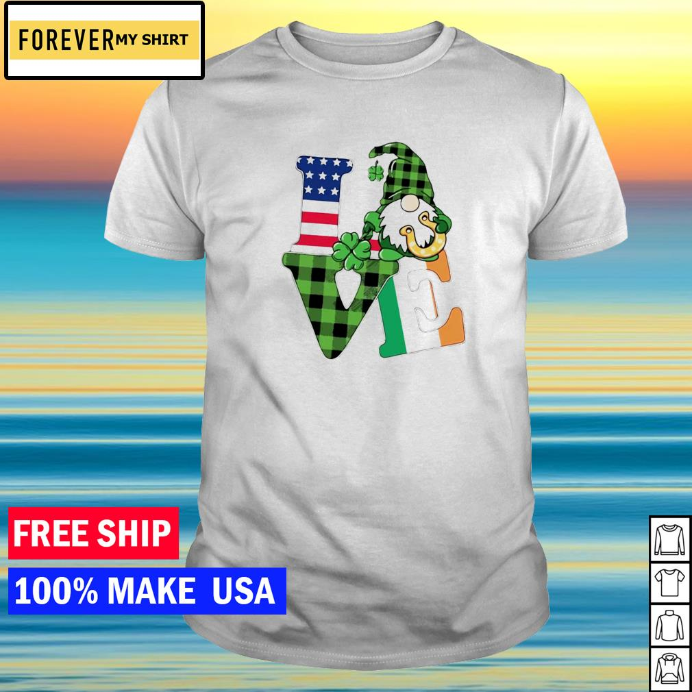 Gnome love American flag happy St Patrick's Day shirt
