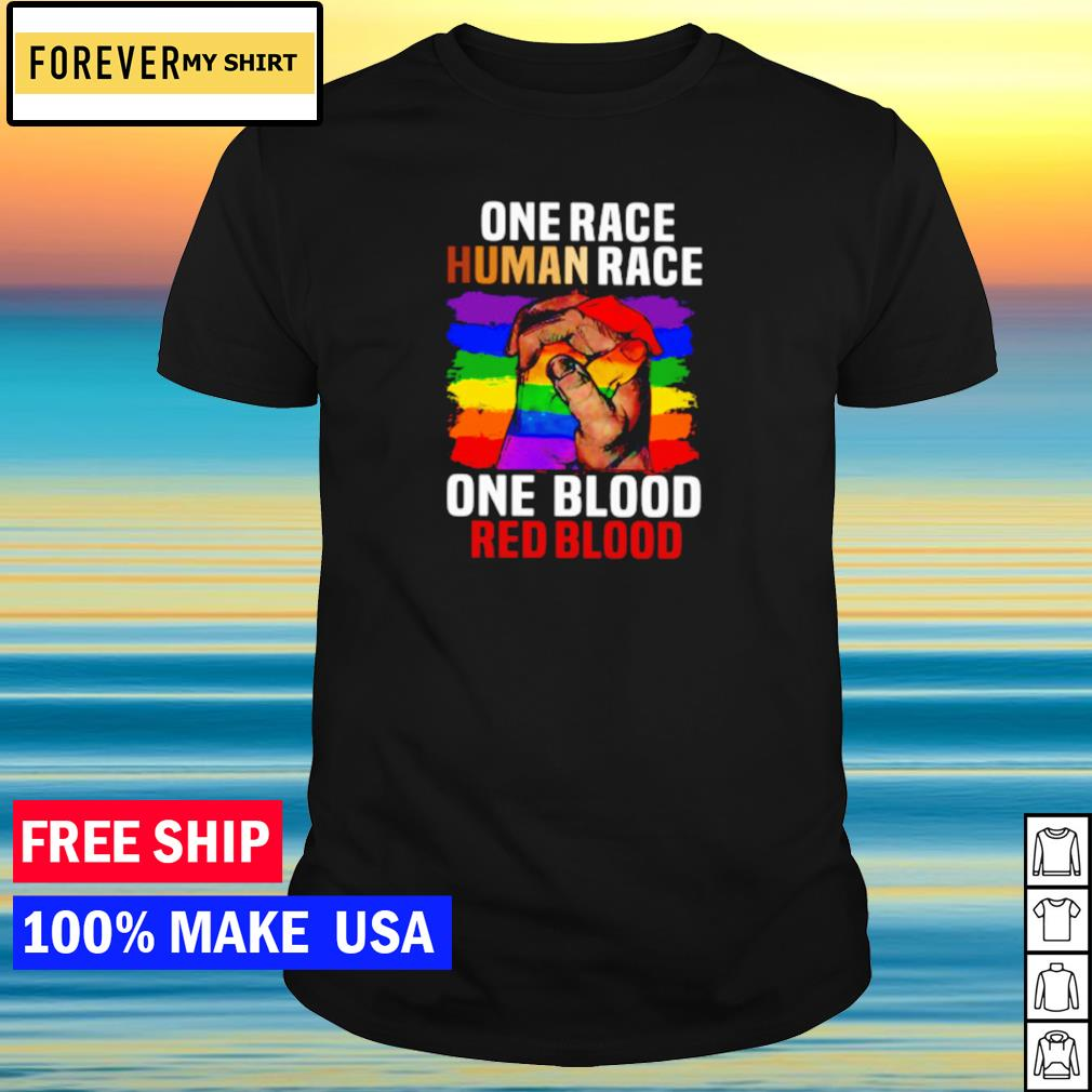 One race human race one blood red blood LGBT shirt