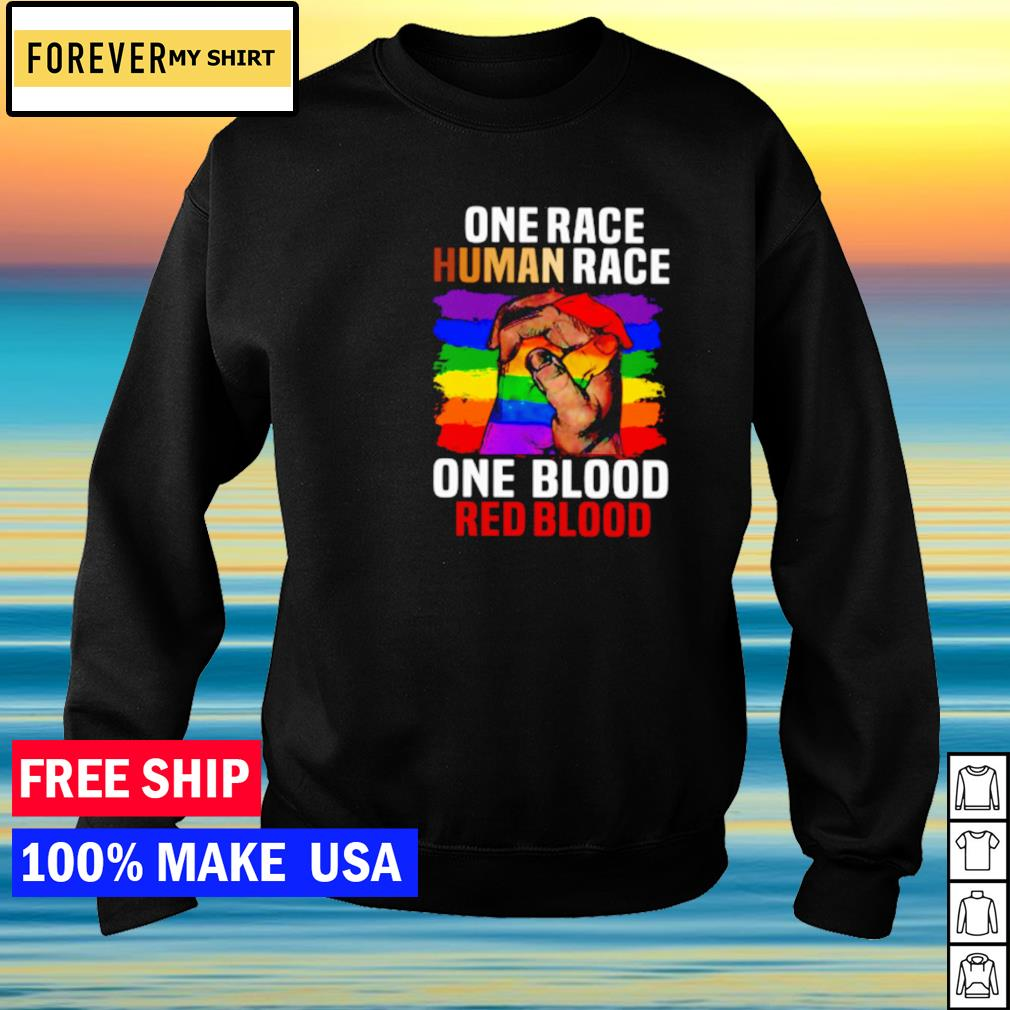 One race human race one blood red blood LGBT s sweater