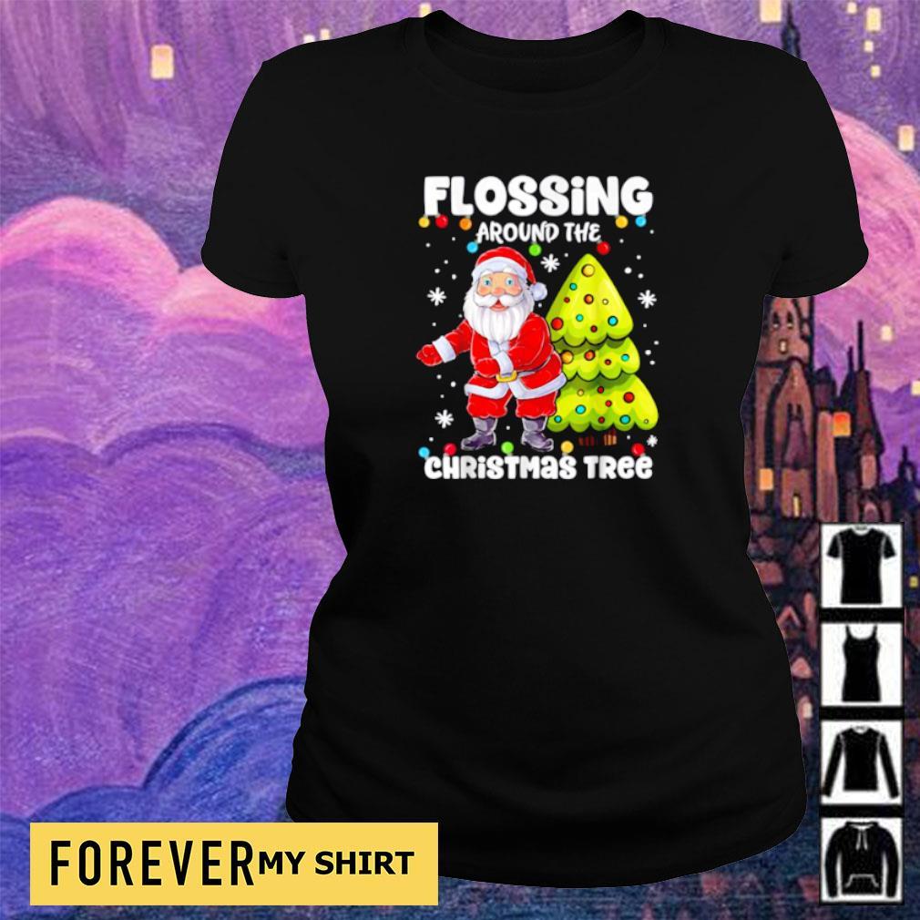 Satan Claus flossing around the Christmas tree sweater ladies tee