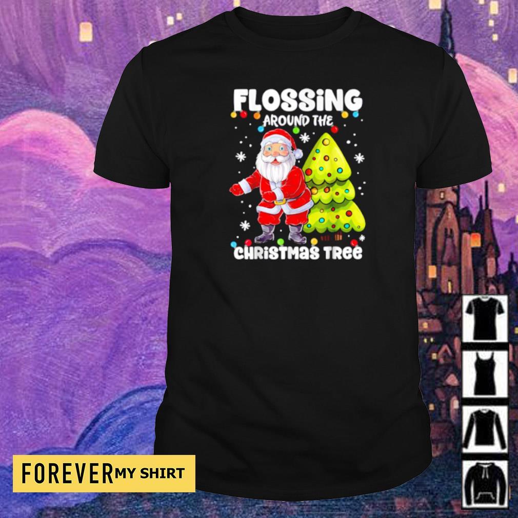 Satan Claus flossing around the Christmas tree sweater shirt