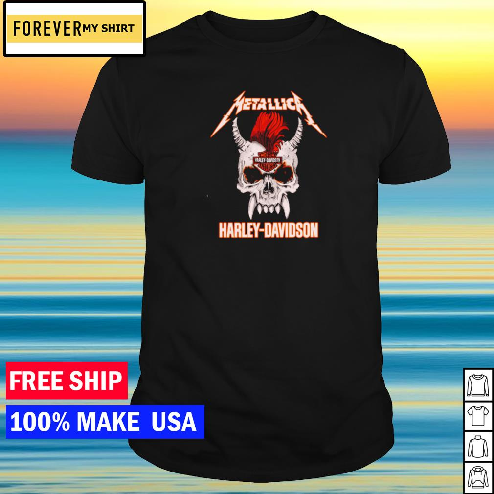 Skull Metallic Harley Davidson Rock n' Roll shirt