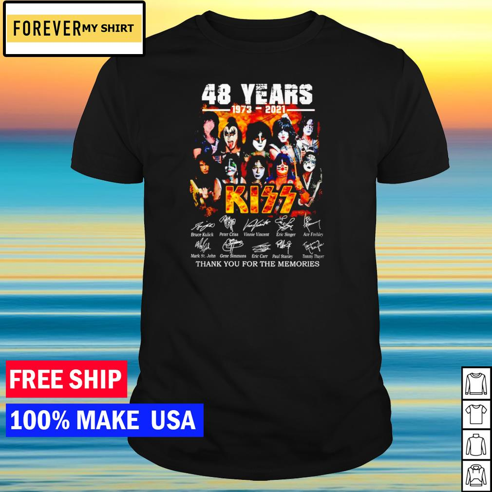 48 years of Kiss 1973-2021 thank you for the memories signature shirt