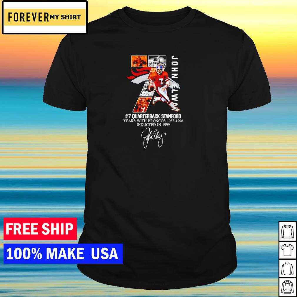 John Elway 7 quarterback stanford years with Broncos 1983-1998 signature shirt