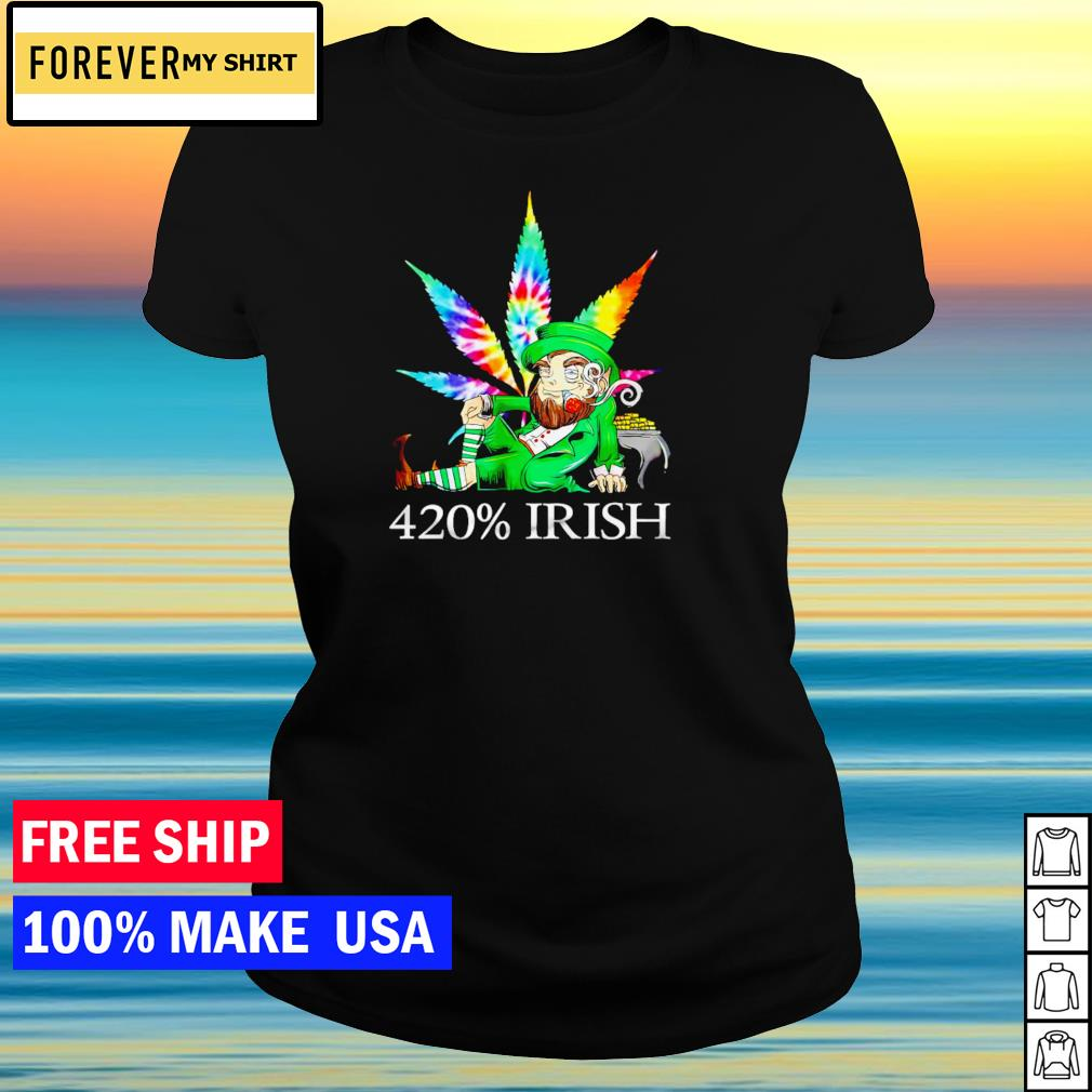 Leprechaun smoking weed 420% Irish happy St Patrick's Day s ladies tee