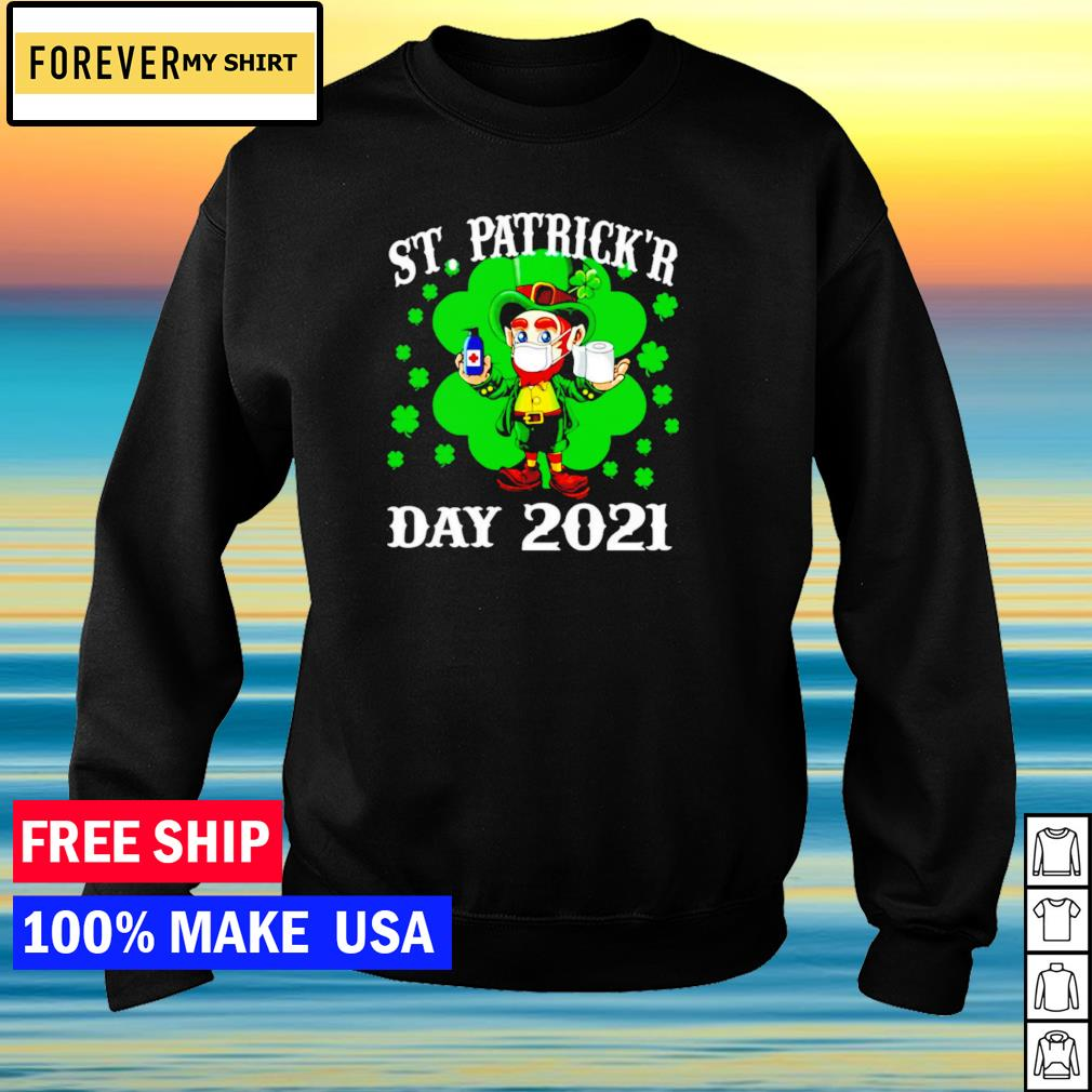 Leprechaun wearing mask happy St Patrick's Day 2021 s sweater