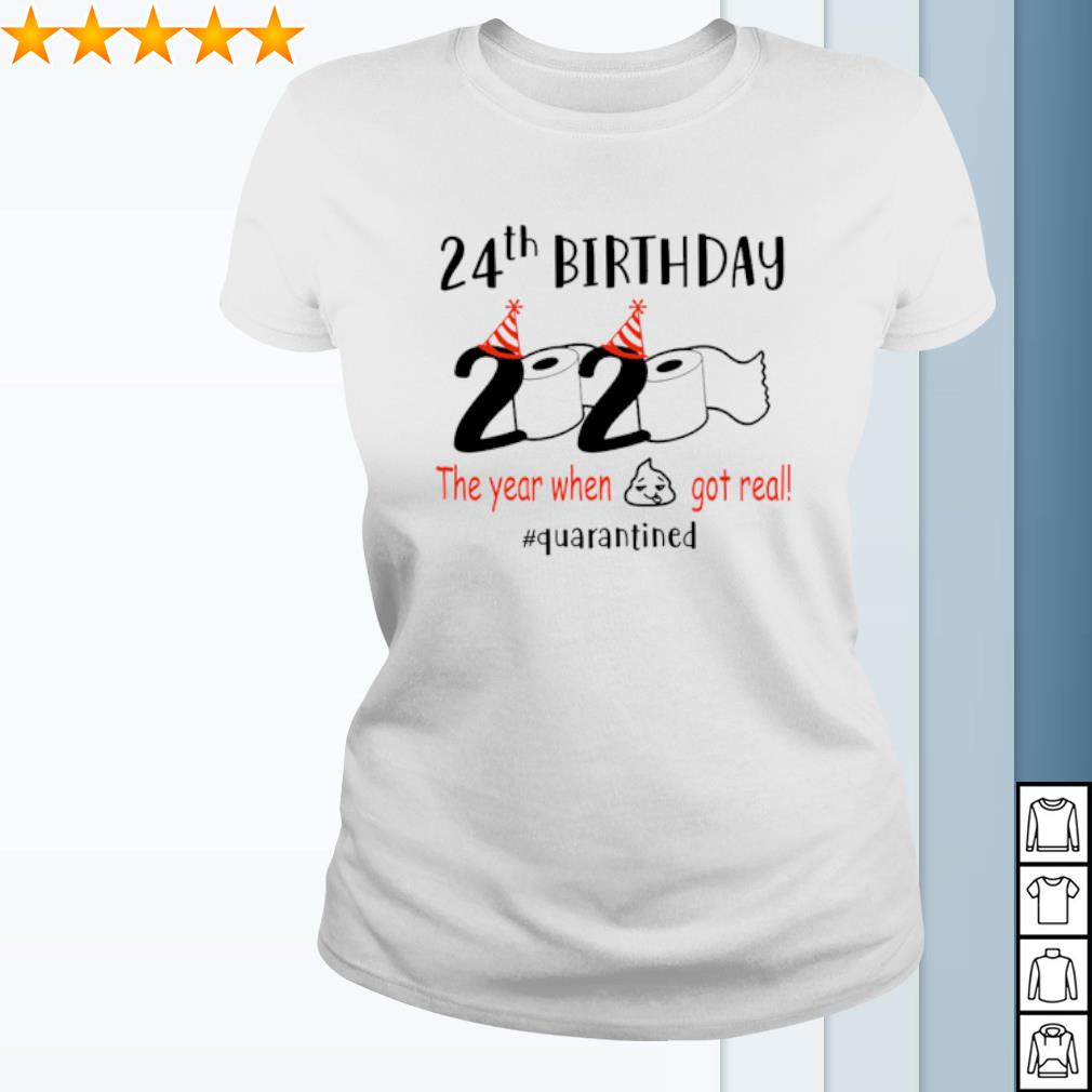 24th Birthday 2020 the year when shit got real quarantined s ladies-tee
