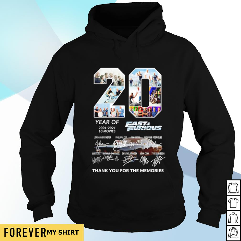 20 years of Fast and Furious 2001 2021 thank you for the memories s hoodie