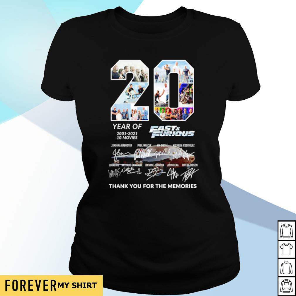 20 years of Fast and Furious 2001 2021 thank you for the memories s ladies-tee