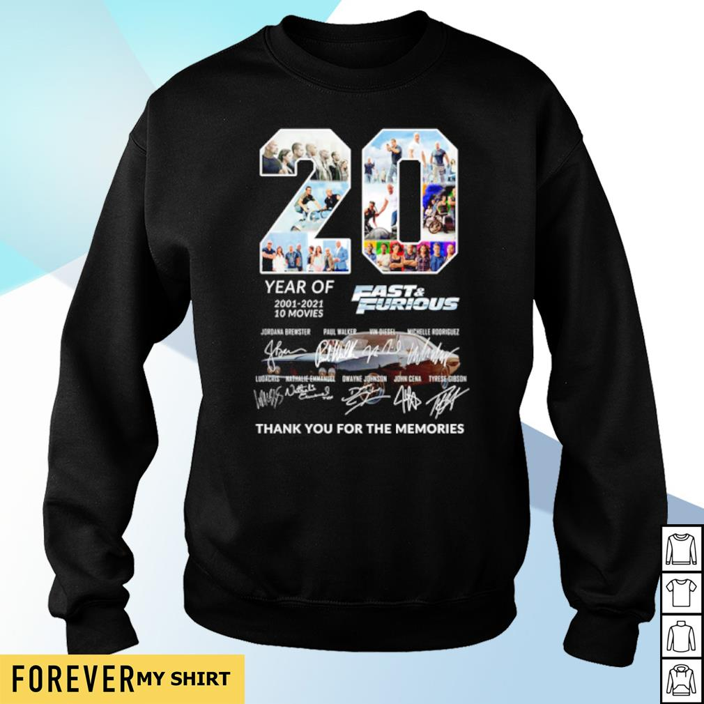 20 years of Fast and Furious 2001 2021 thank you for the memories s sweater