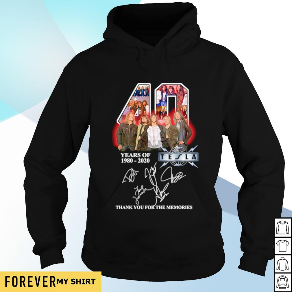 40 years of Tesla 1980 2020 thank you for the memories signature s hoodie