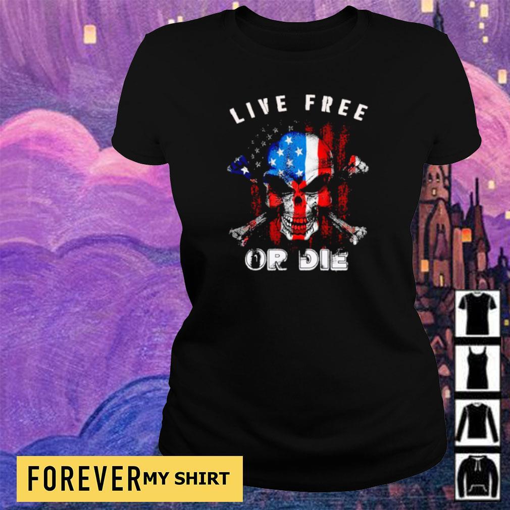 American Flag skull live free or die s ladies tee