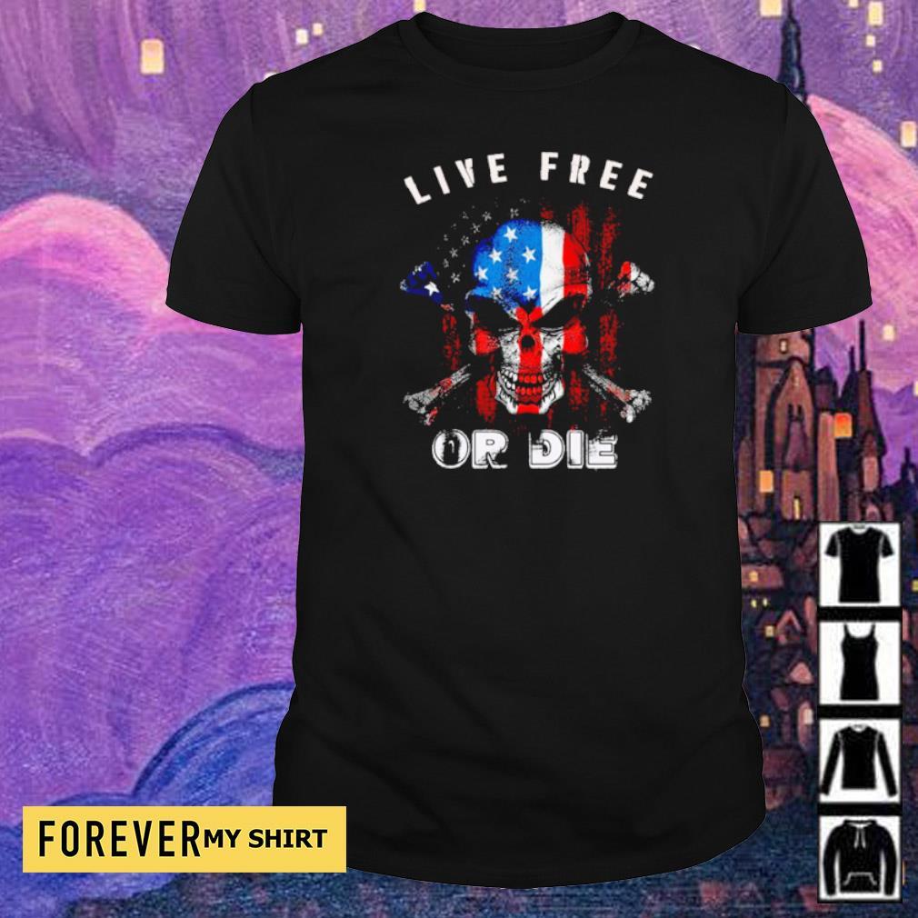American Flag skull live free or die shirt
