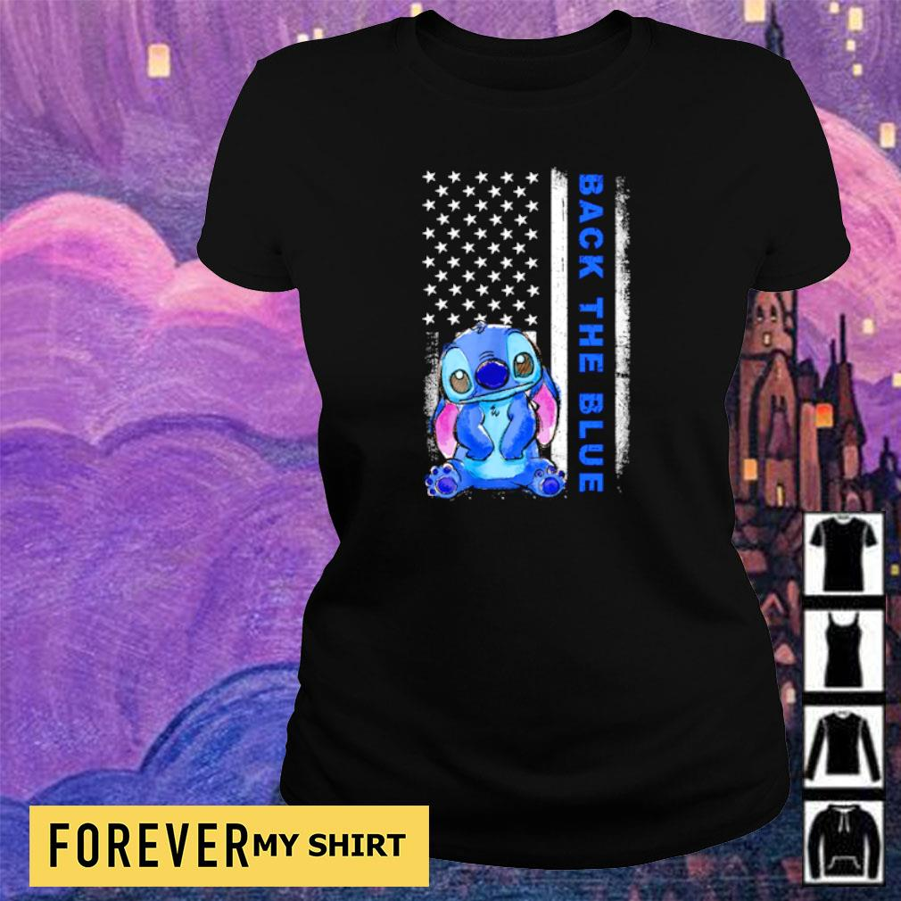 American Flag Stitch Back the blue s ladies tee