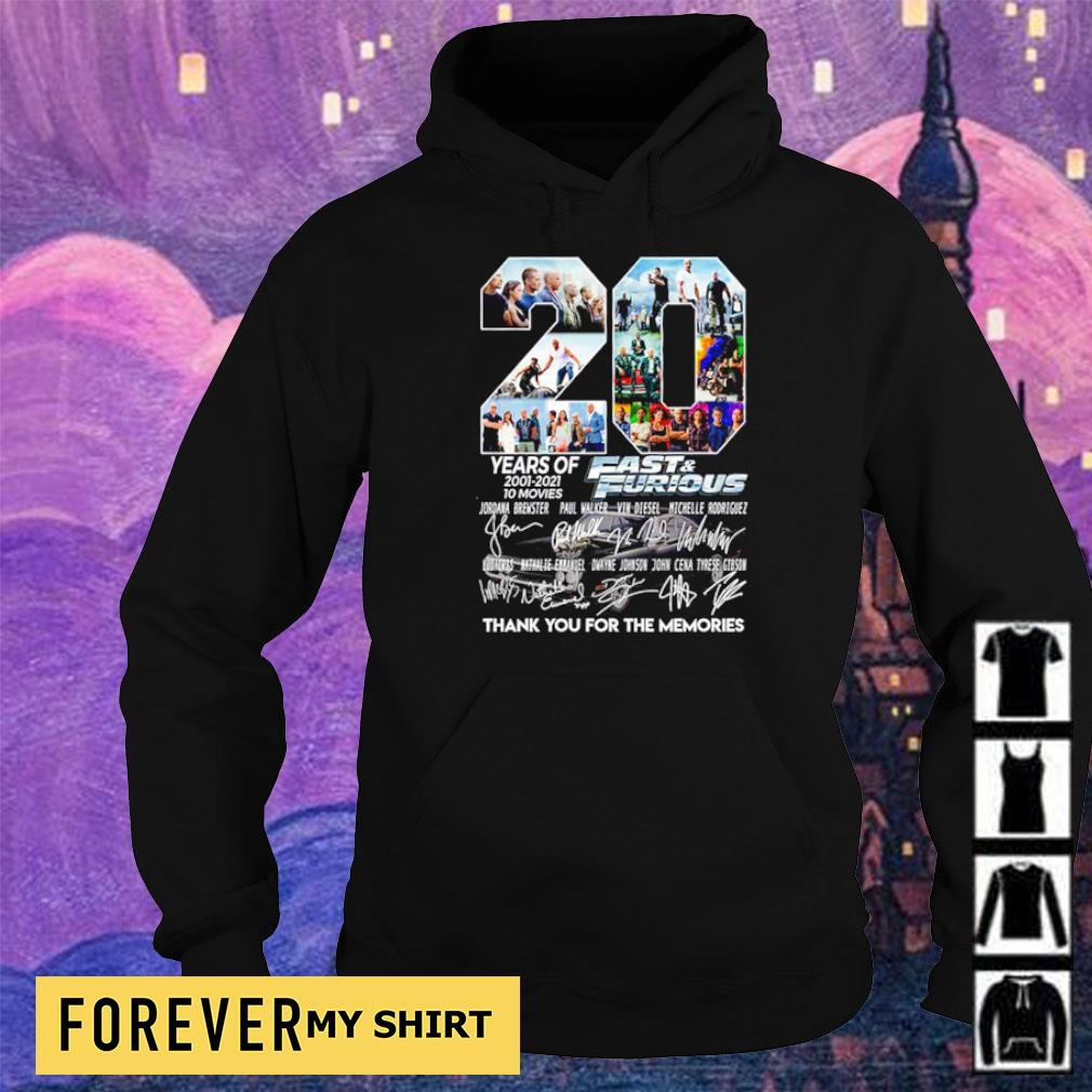 20 years of Fast and Furious thank you for the memories signatures s hoodie