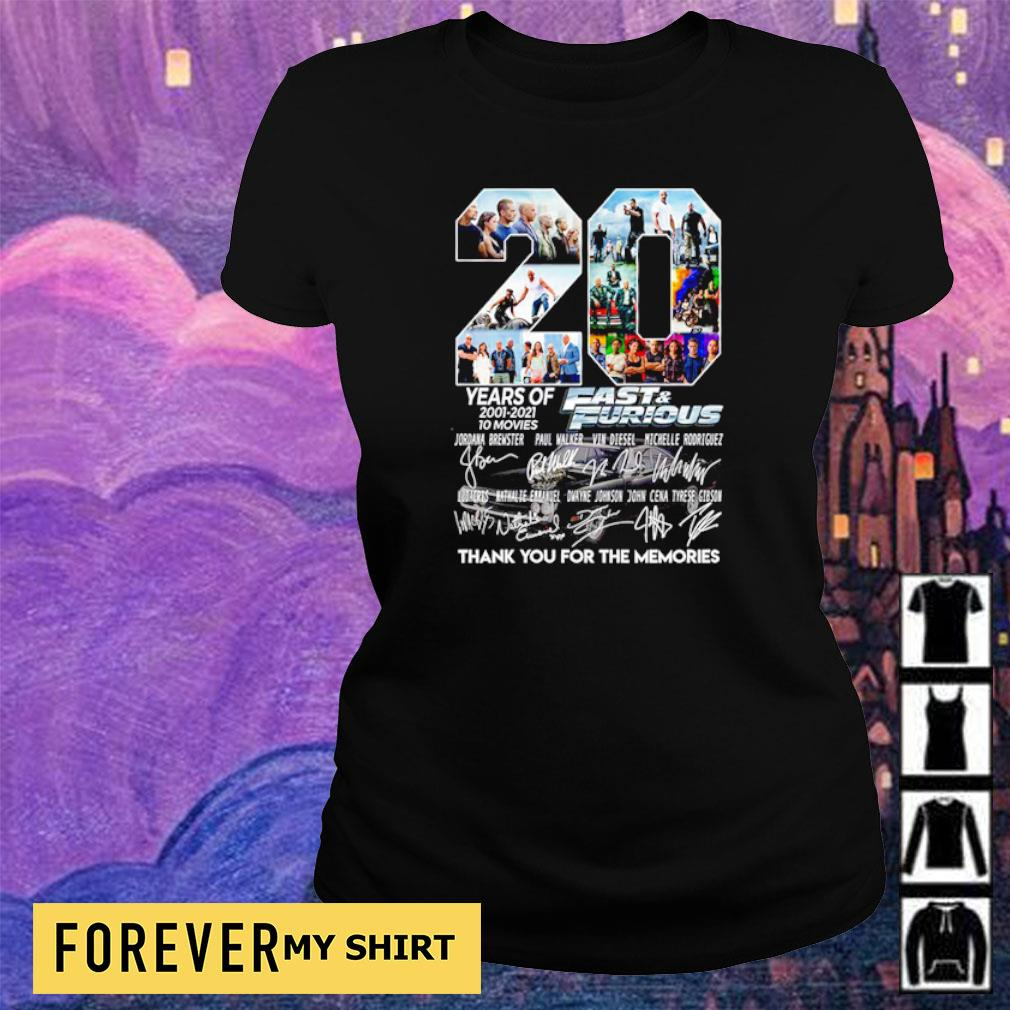20 years of Fast and Furious thank you for the memories signatures s ladies tee