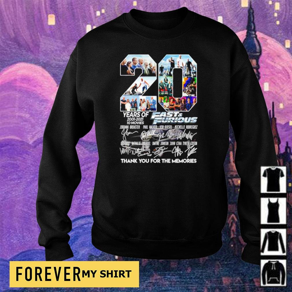 20 years of Fast and Furious thank you for the memories signatures s sweater