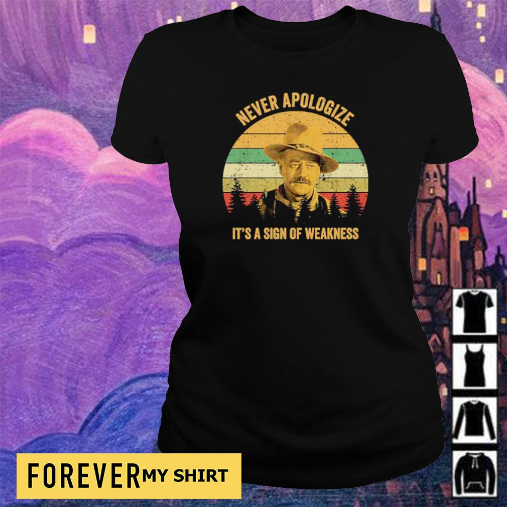 Never apologize it's a sign of weakness s ladies tee