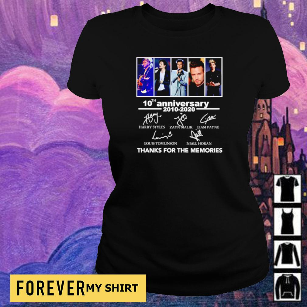 10th anniversary of One Direction thanks for the memories s ladies tee