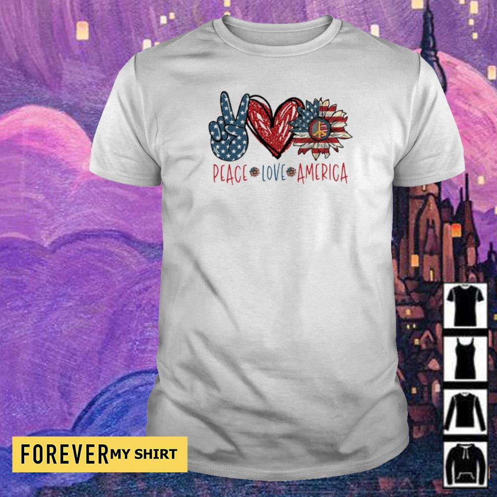 Peace love America Flag Sunflower shirt