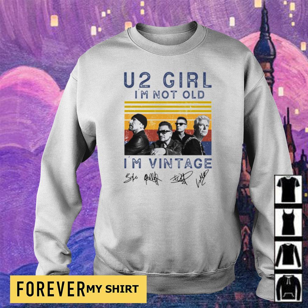 U2 Girl I'm not old I'm vintage signatures s sweater
