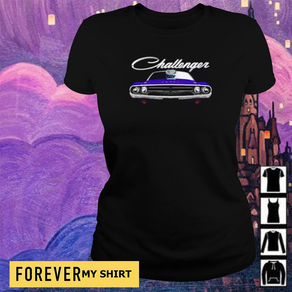 1971 Dodge Challenger two sided plum crazy blower s ladies tee