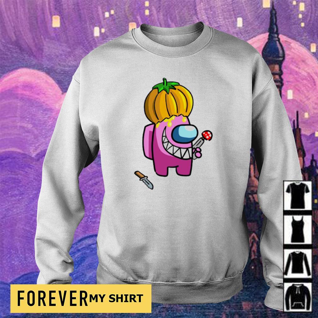 Among us impostor wearing pumpkin s sweater