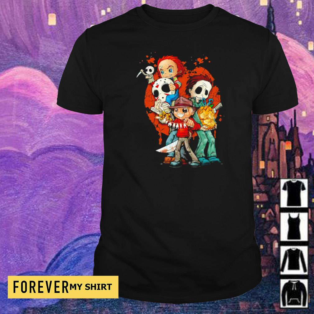 Cute chibi horror characters hapyy Halloween shirt
