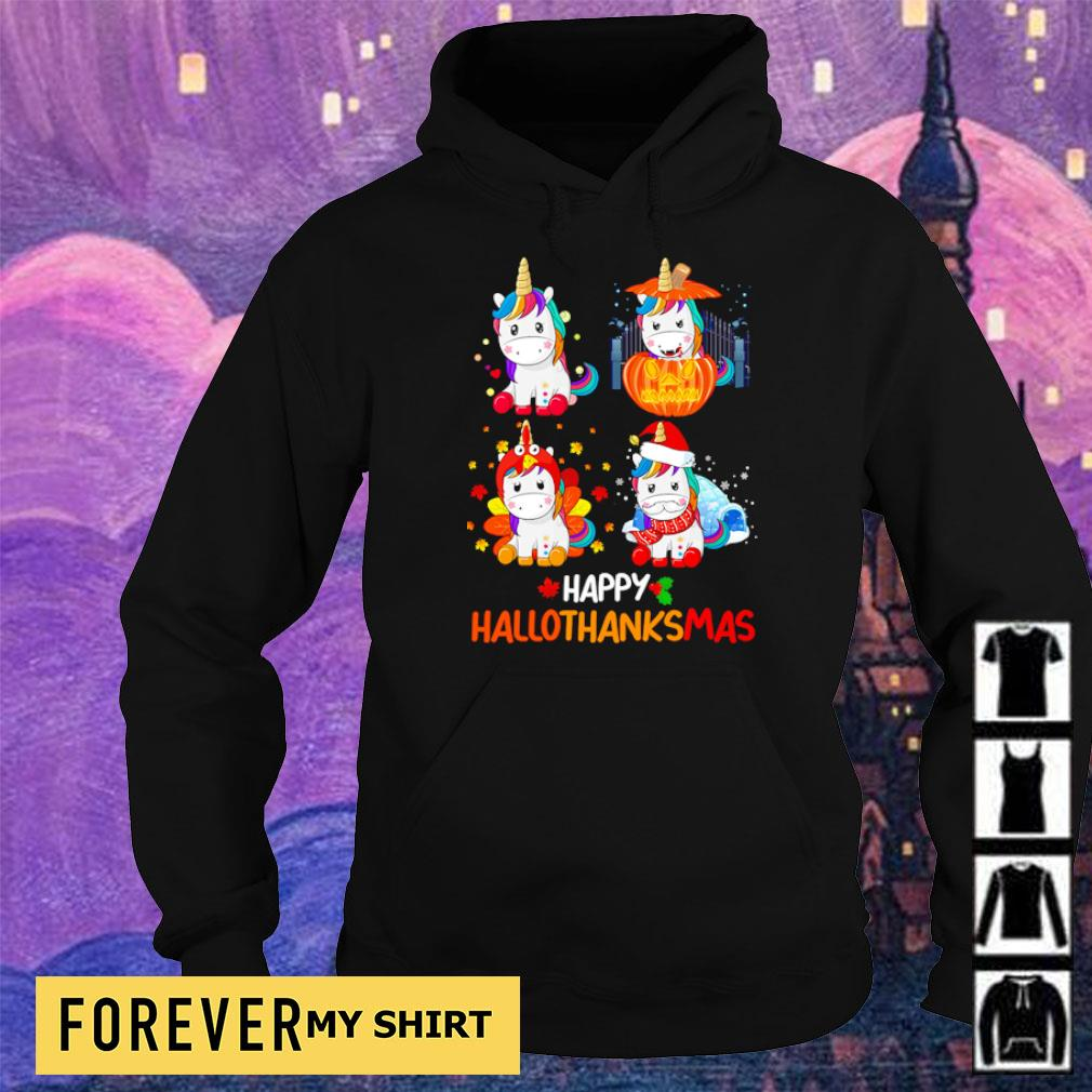 Cute unicorn happy hallothanksmas s hoodie
