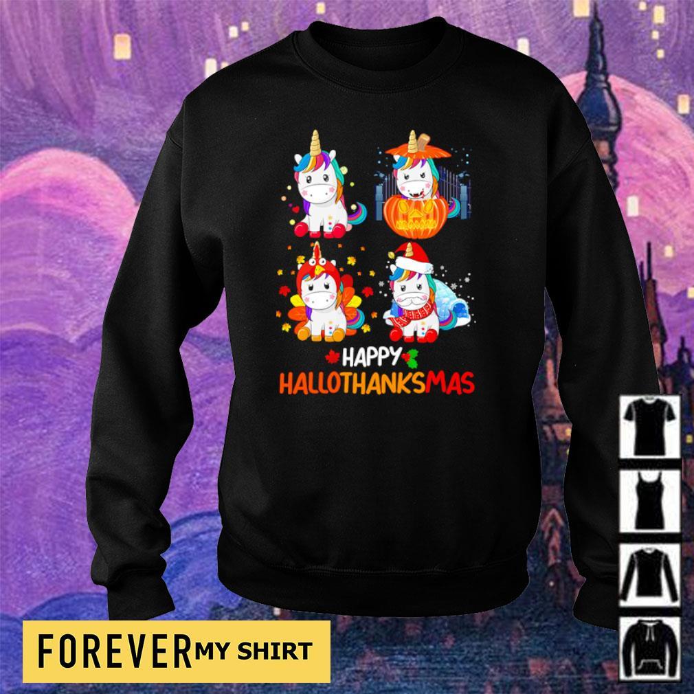 Cute unicorn happy hallothanksmas s sweater