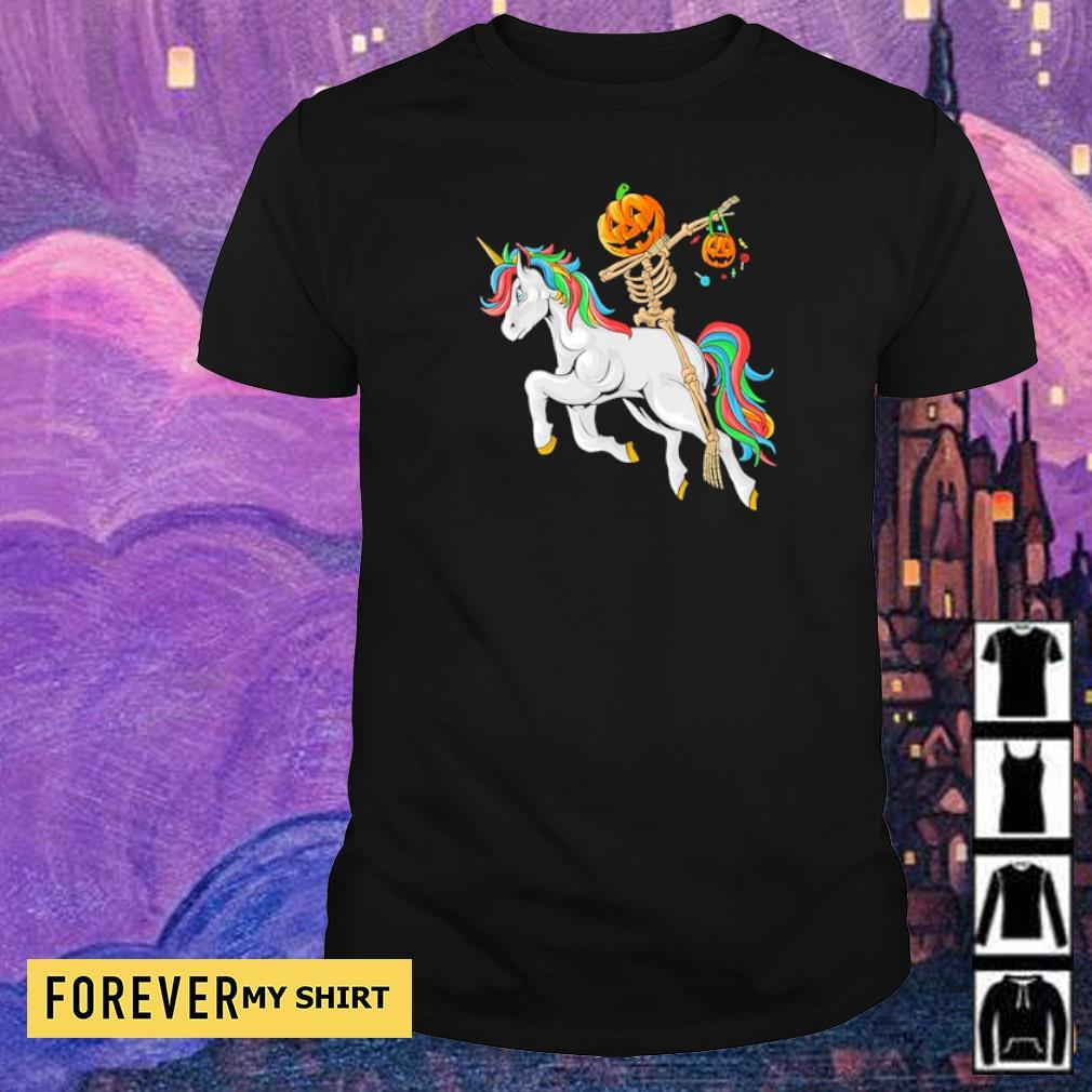Dabbing pumpkin skeleton riding unicorn shirt