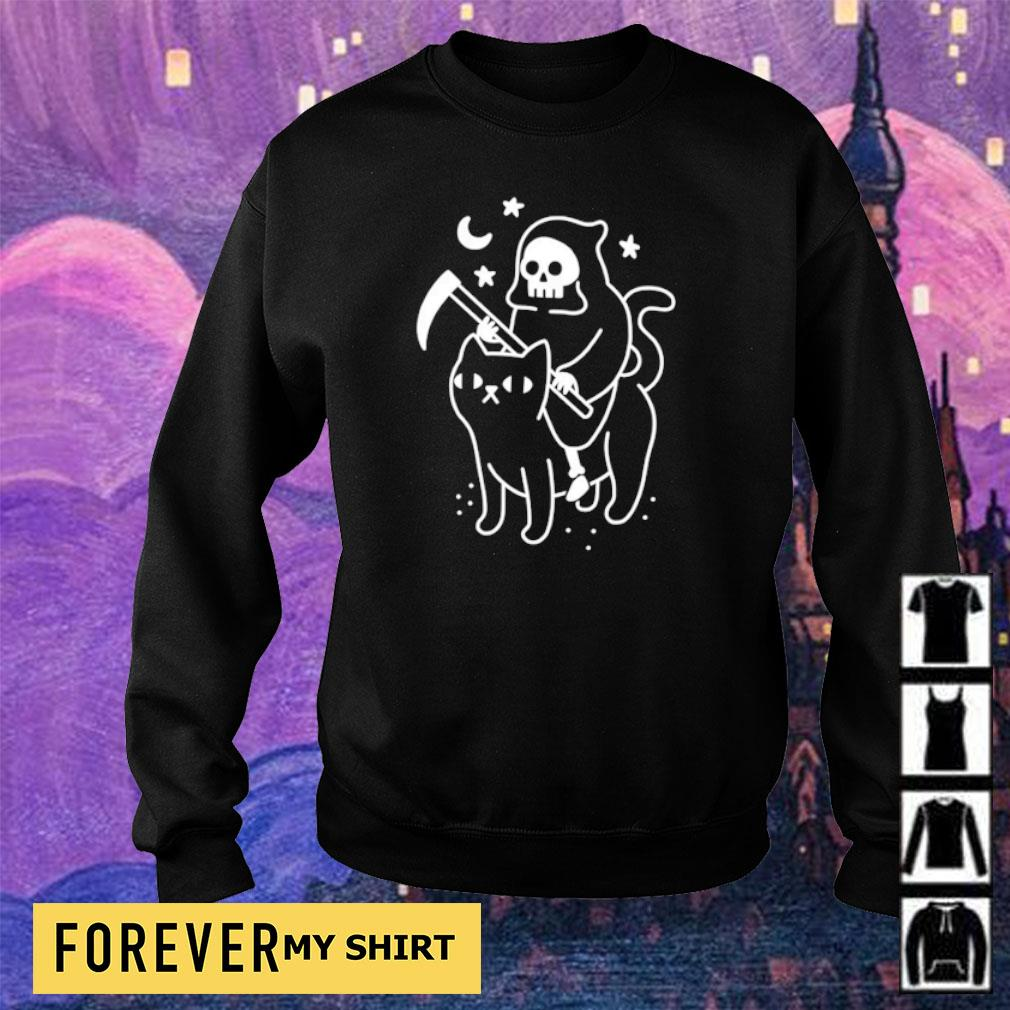 Death riding black cat s sweater