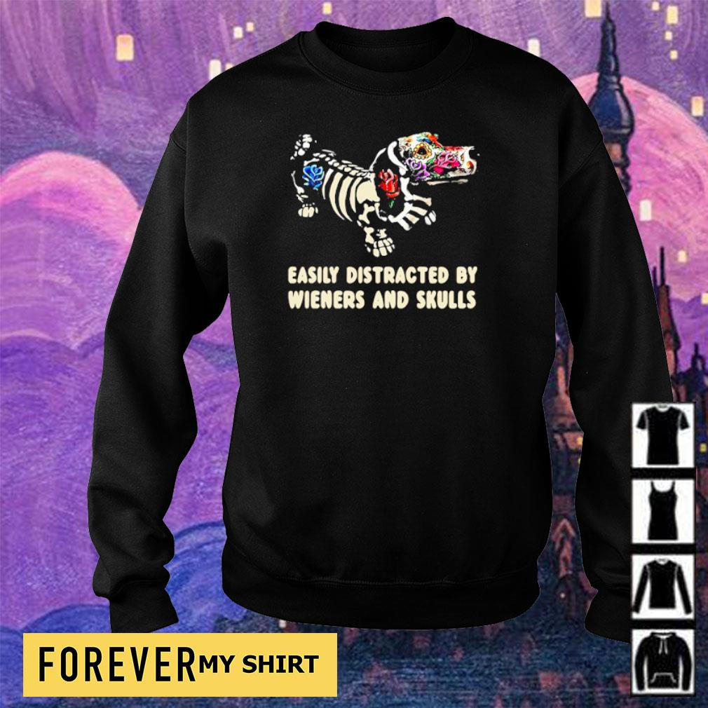 Easily distracted by Wieners and skulls Halloween s sweater