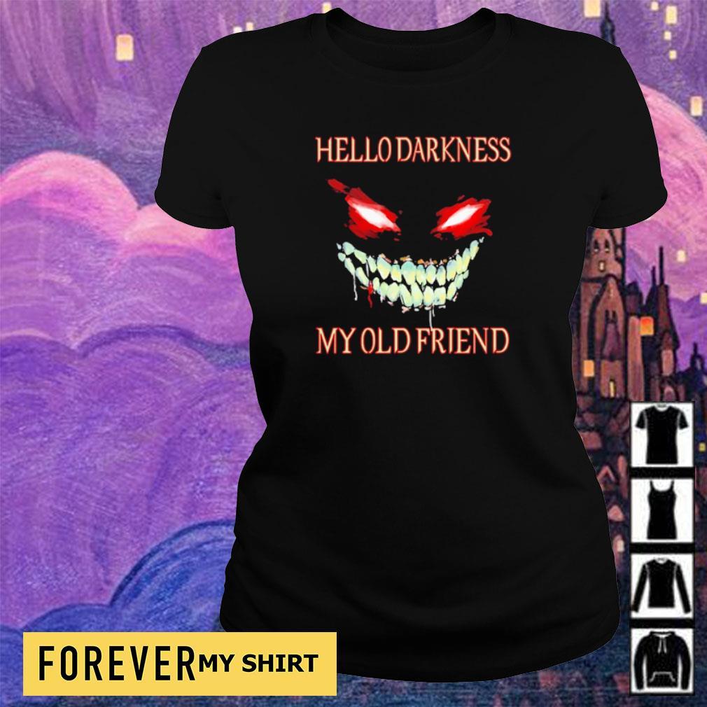 Evil Face hello darkness my old friend Halloween s ladies tee