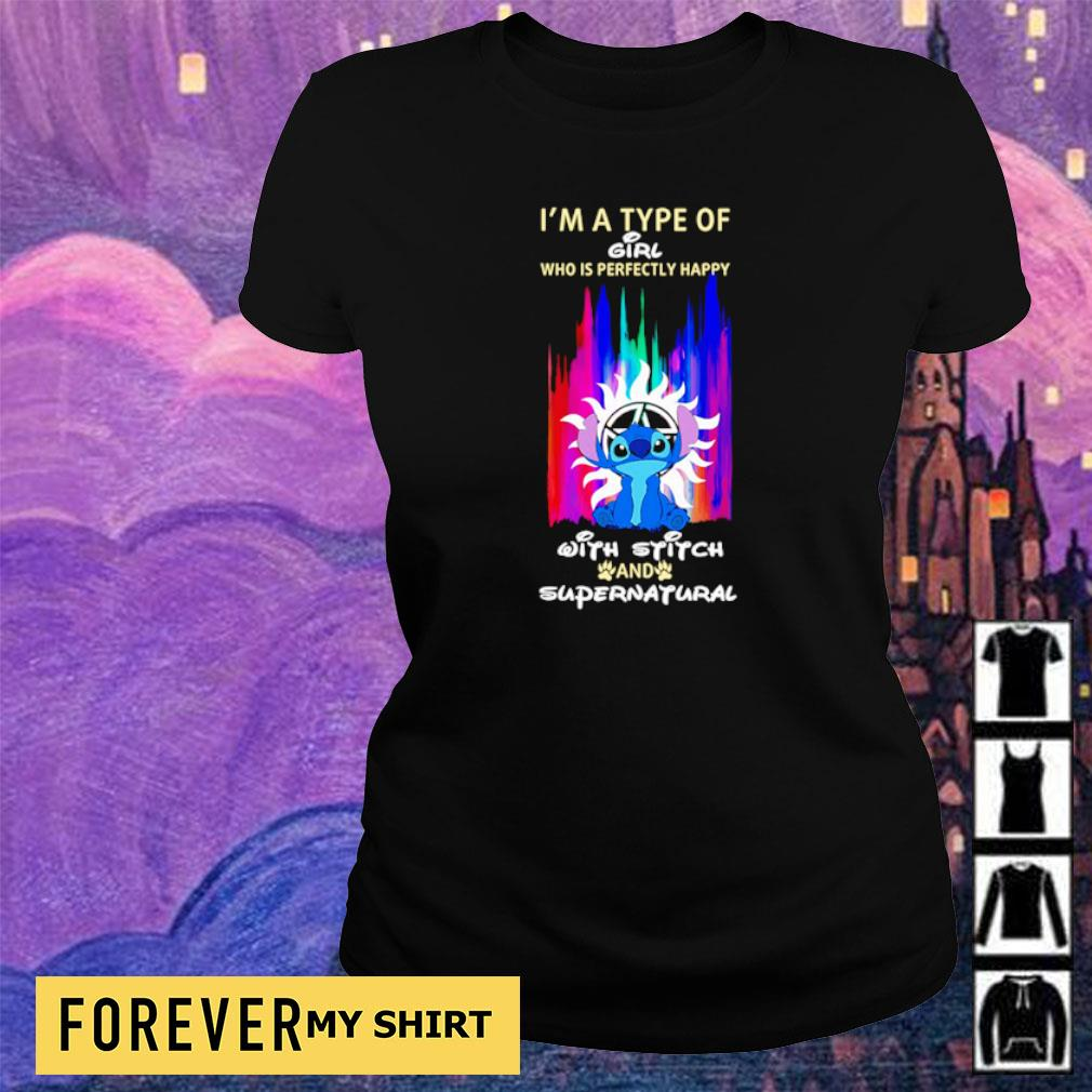 I'm a type of girl who is perfectly happy with Stitch and Supernatural s ladies tee