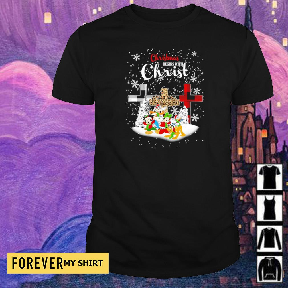Mickey Mouse and friends Christmas begins with Christ shirt