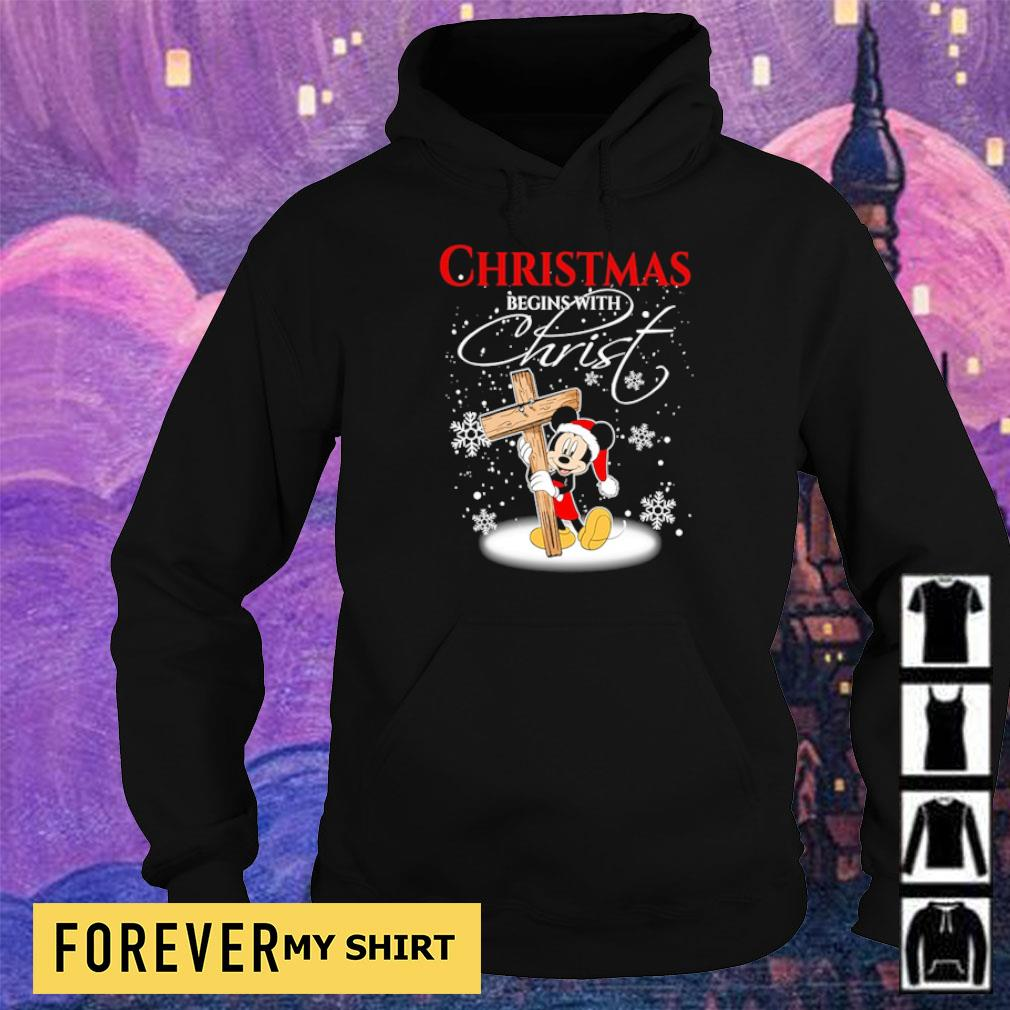 Mickey Mouse happy Chirstmas begin with Christ s hoodie