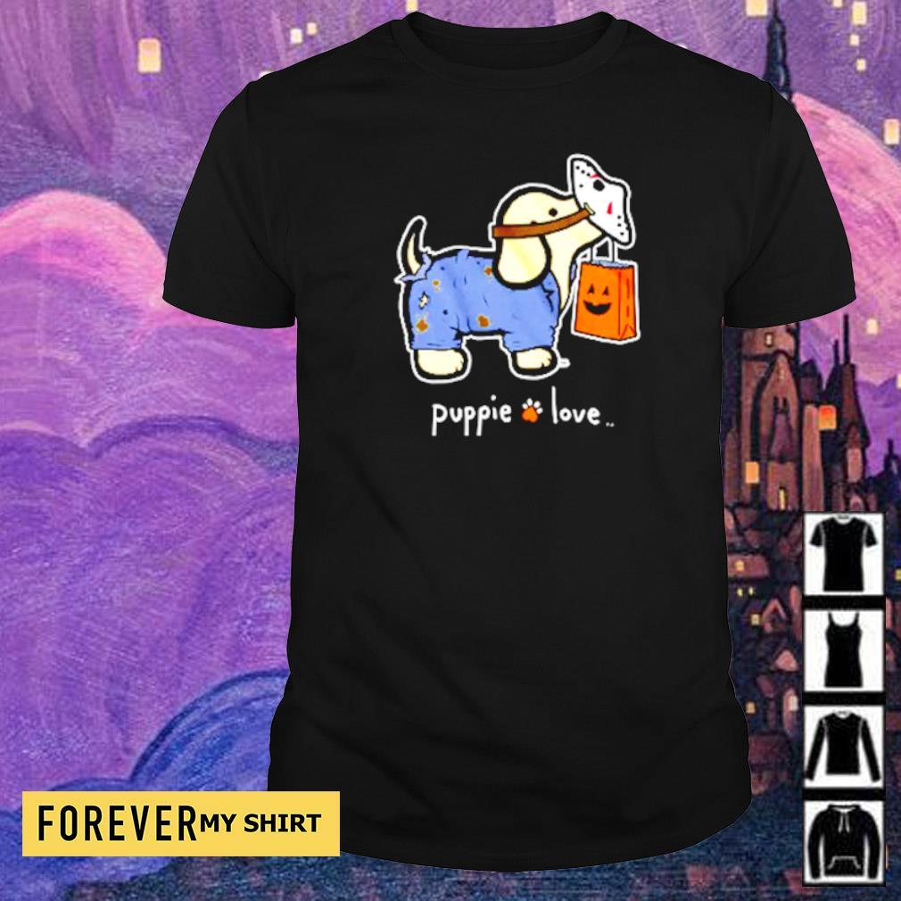 Puppie love wearing Jason Voorhees mask Halloween shirt