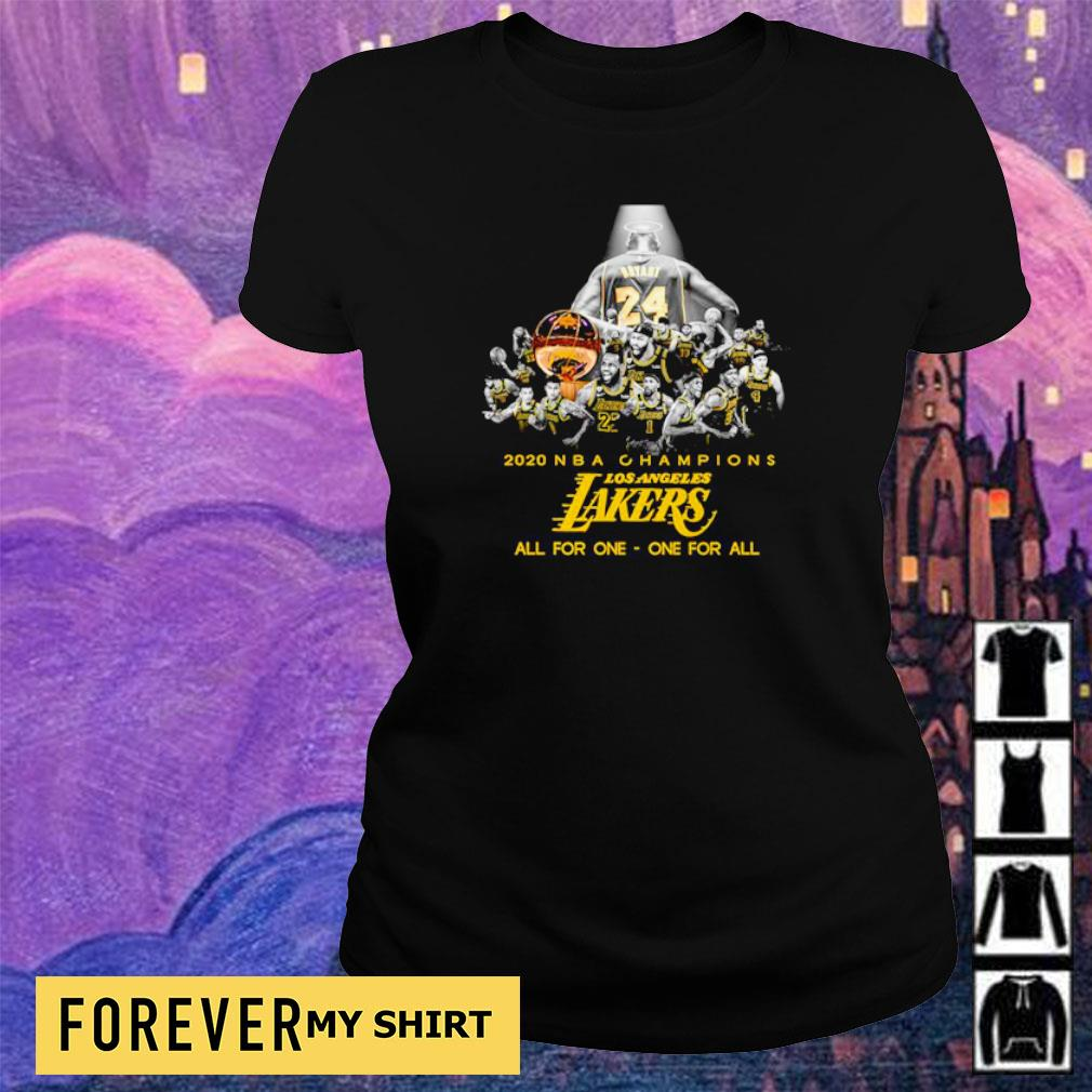 RIP Kobe Bryant 2020 NBA champions Los Angeles Lakers all for one one for all s ladies tee