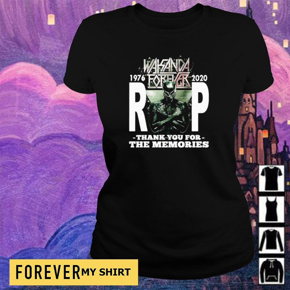 Wakanda Forever RIP Black Panther 1976 2020 thank you for the memories s ladies tee