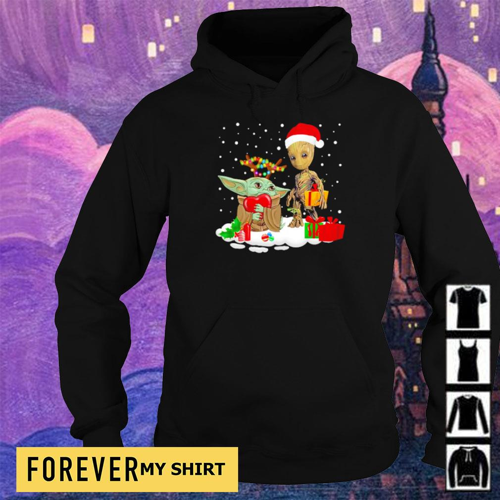 Baby Yoda and Baby Groot merry Christmas sweater hoodie
