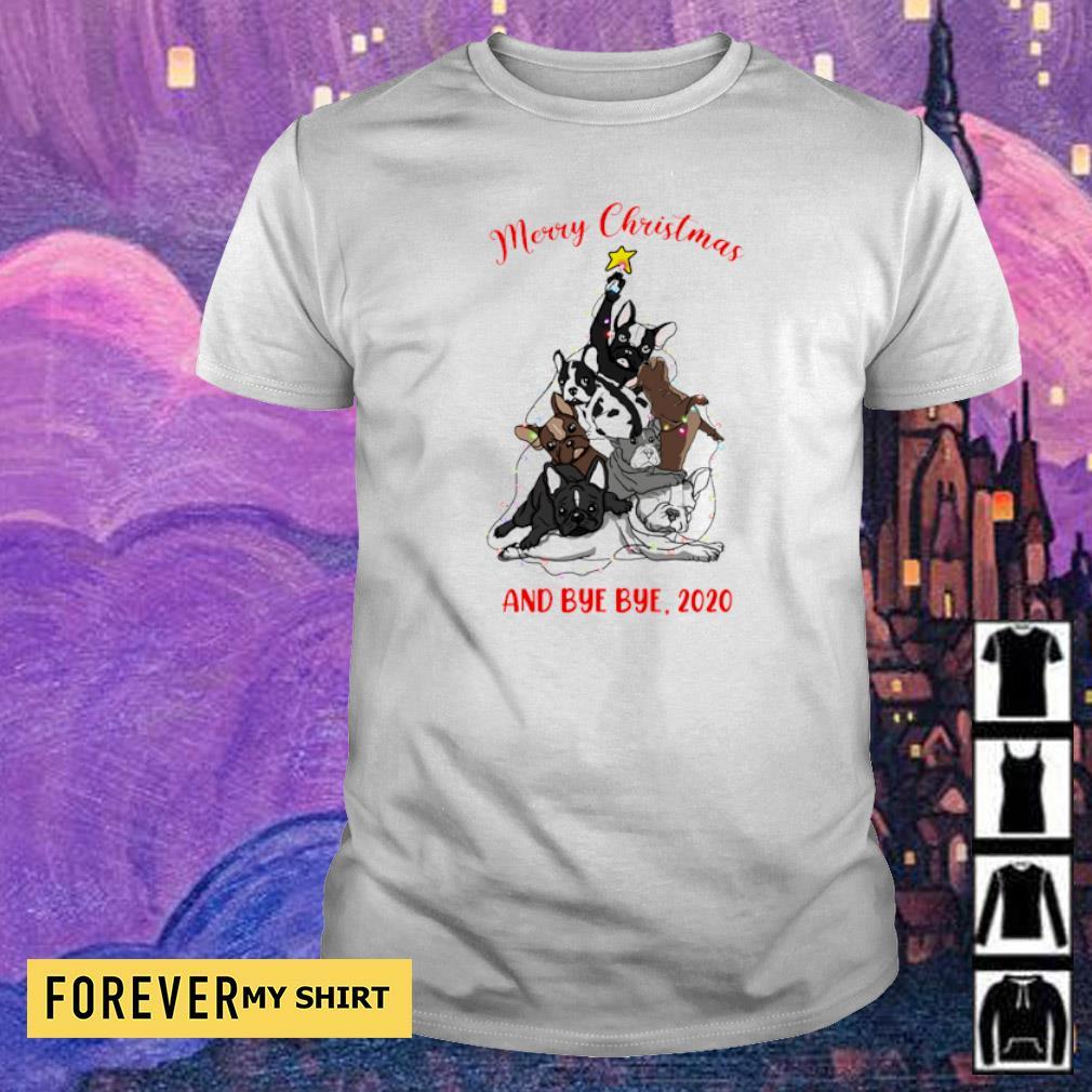 Bulldog as Christmas tree merry Christmas and bye bye 2020 shirt