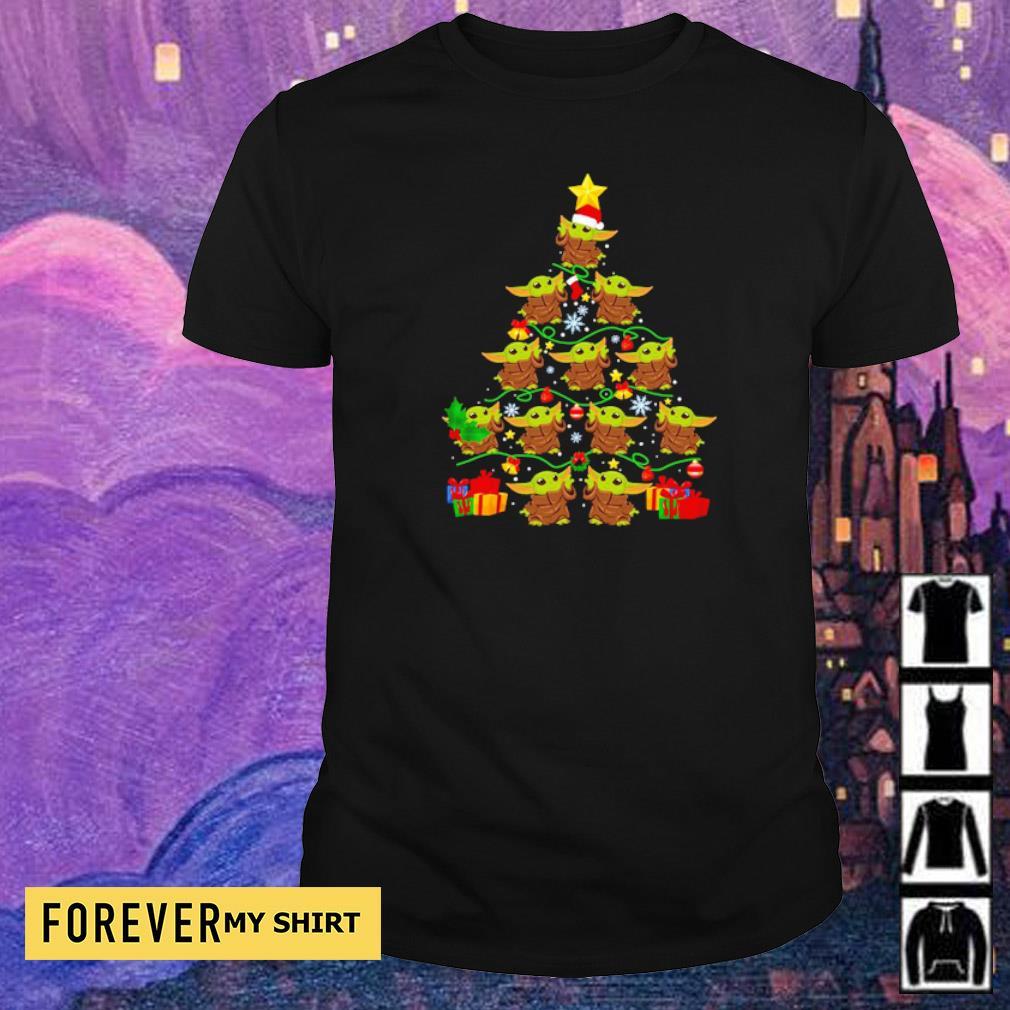 Cute baby Yoda tree merry Christmas sweater shirt