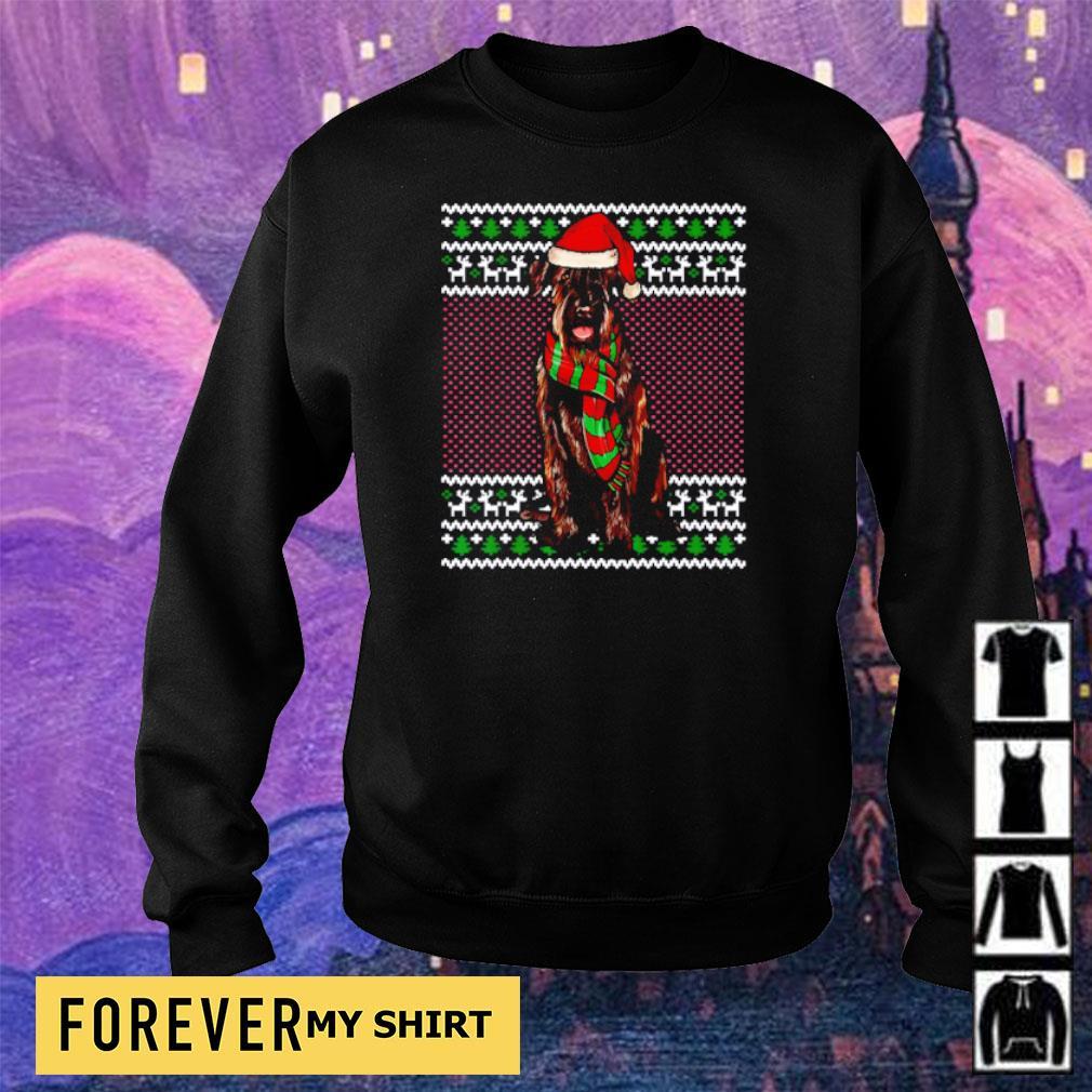 Giant Schnauzer wearing Santa hat merry Christmas sweater