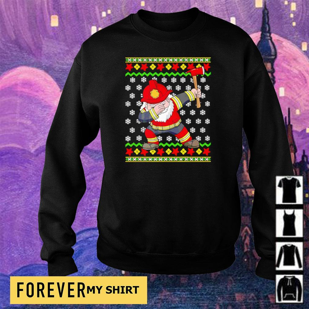 Santa firefighter dabbing merry Christmas sweater