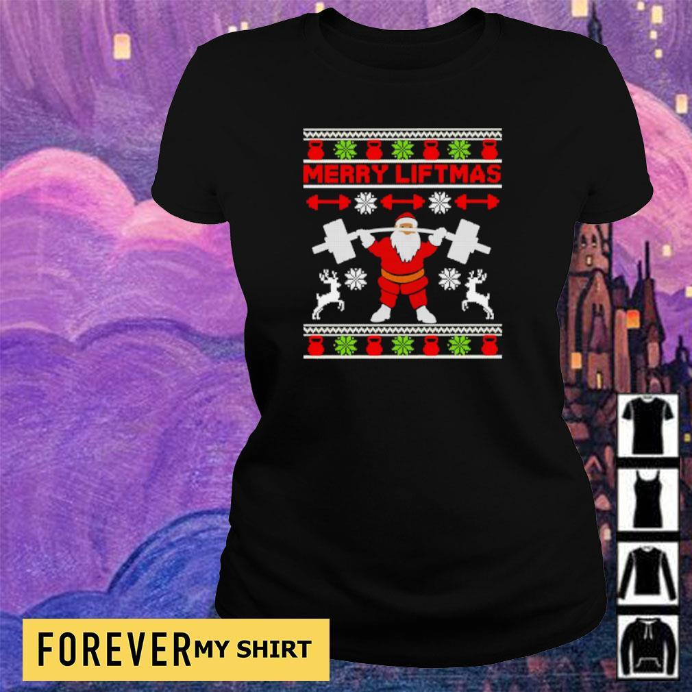 Santa lifting merry liftmas Christmas sweater ladies tee
