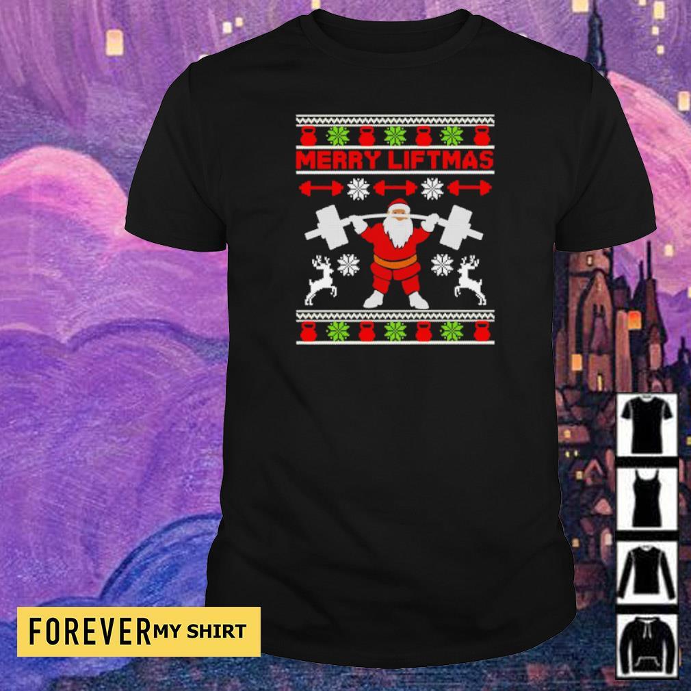 Santa lifting merry liftmas Christmas sweater shirt