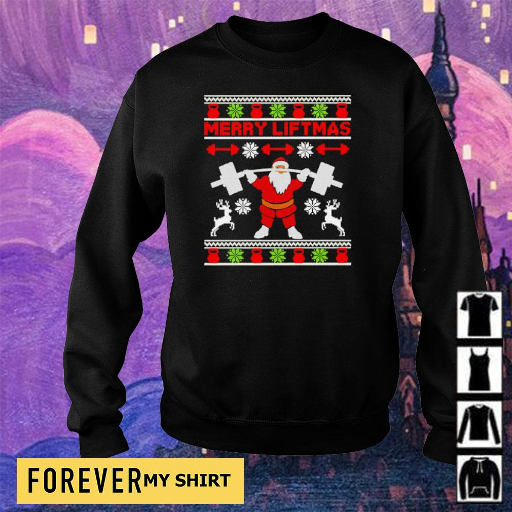 Santa lifting merry liftmas Christmas sweater