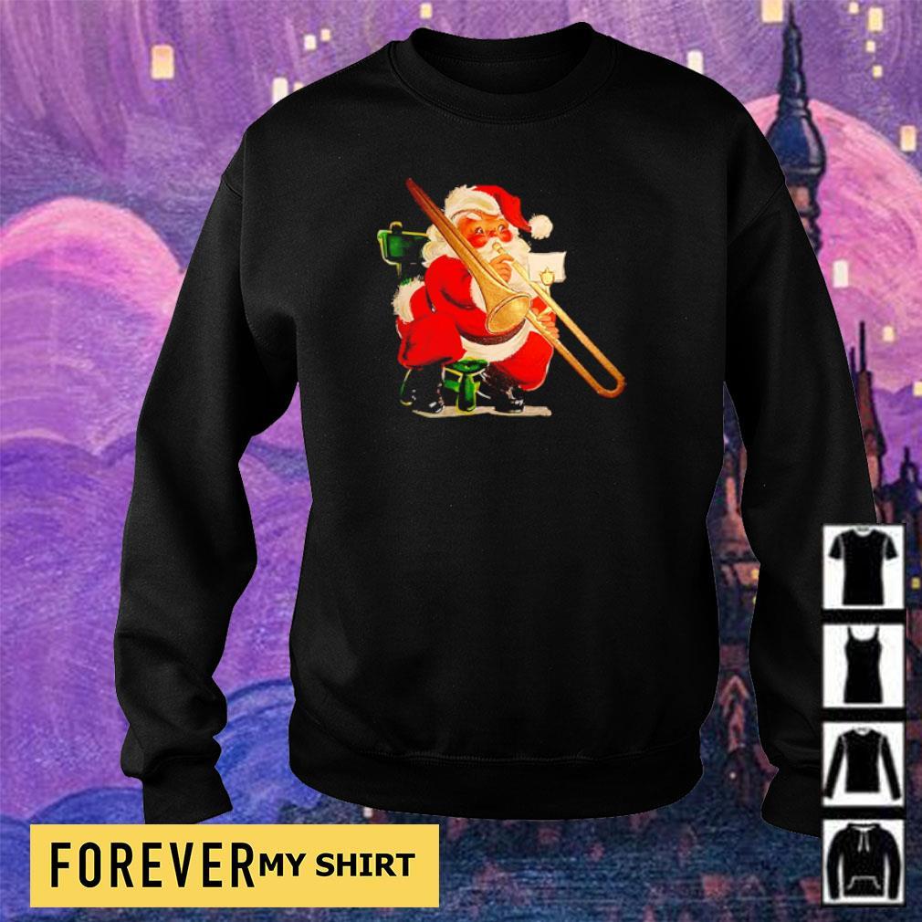 Trombonist Santa Claus merry Christmas sweater